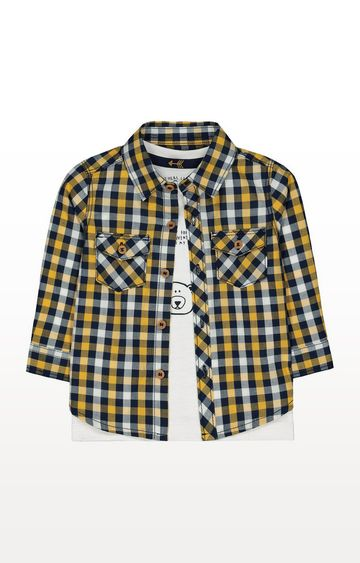 Mothercare | Yellow Check Shirt And Animal T-Shirt