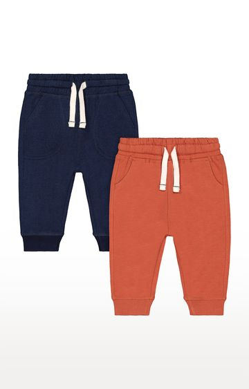 Mothercare | Navy and Orange Solid Casual Joggers