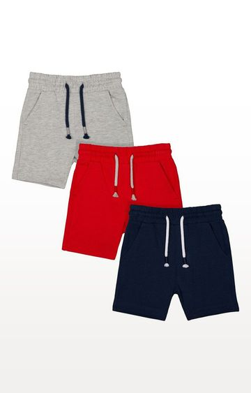 Mothercare | Red, Grey And Navy Shorts - 3 Pack