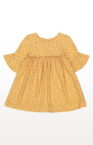 Mothercare | Mustard Floral, Flute-Sleeve Dress