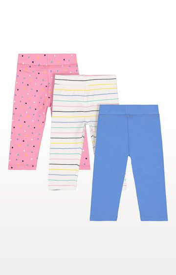 Mothercare | Stripe, Blue And Heart Leggings - 3 Pack