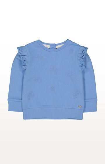Mothercare | Blue Embroidered Floral Sweat Top