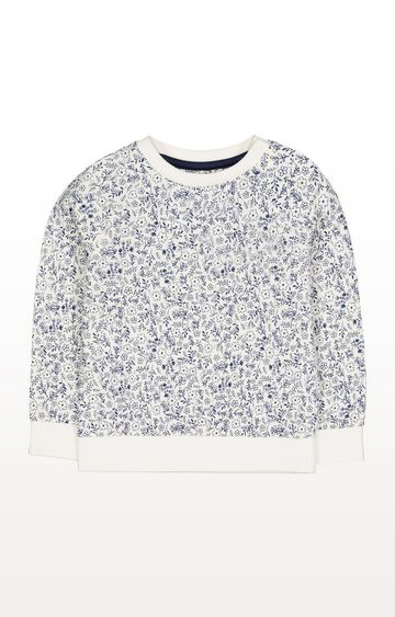 Mothercare | White And Blue Ditsy Floral Sweat Top