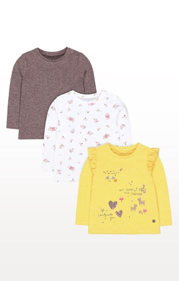 Mothercare | Yellow Woodland Animals, Grey and Floral T-Shirts - Pack of 3