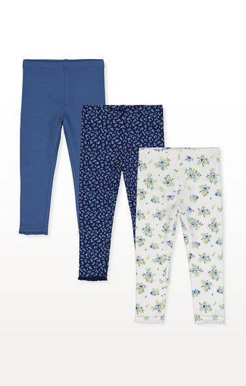 Mothercare | Navy, Blue And Ditsy Floral Leggings - 3 Pack