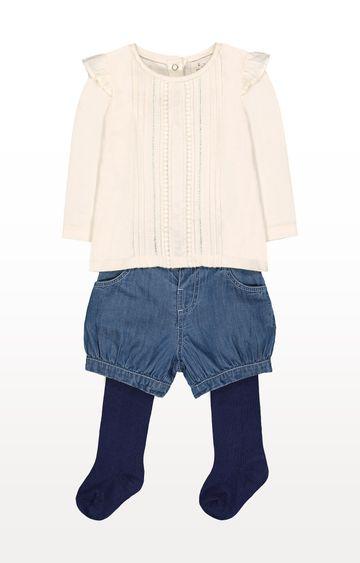 Mothercare | Cream T-Shirt, Shorts and Tights Set