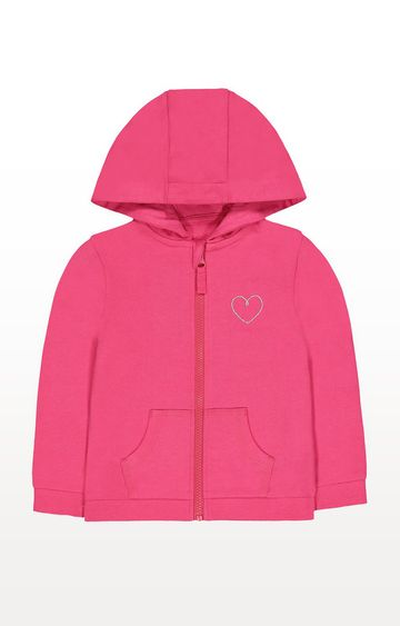 Mothercare | Hot Pink Silver Heart Zip-Through Hoodie