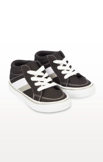 Mothercare | Black Canvas Hi-Top Trainers