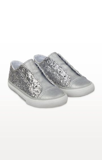Mothercare | Silver Glitter Laceless Trainers