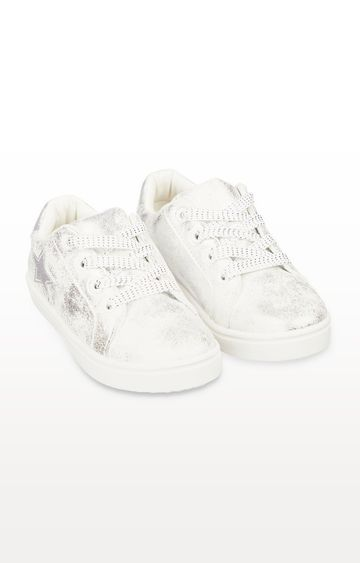 Mothercare | White Shimmer Star Canvas Trainers