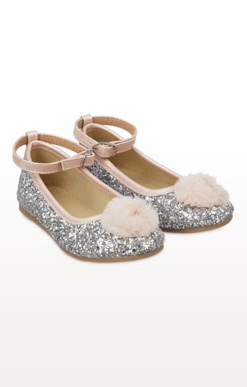 Mothercare | Silver Glitter and Pom Ballerina Shoes