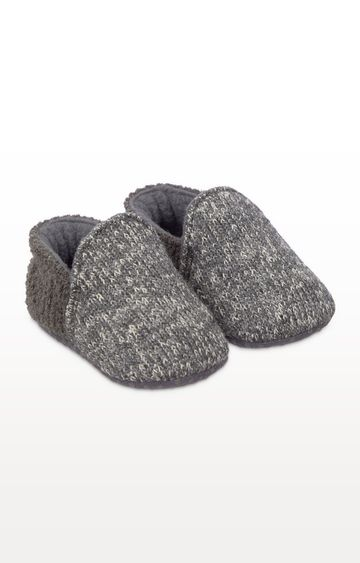 Mothercare | Grey Knitted Baby Slippers
