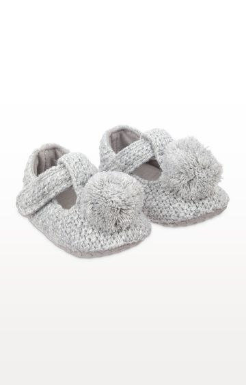 Mothercare | Grey Knitted T-Bar Baby Booties