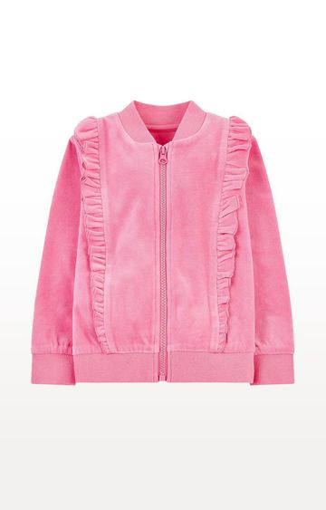 Mothercare | Pink Velour Zip-Through Cardigan