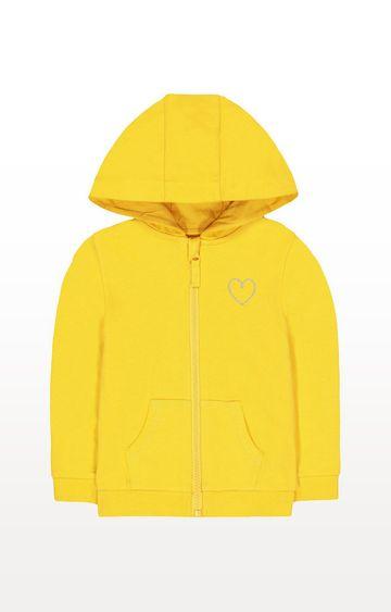 Mothercare   Mustard Yellow Silver Heart Zip-Through Hoodie
