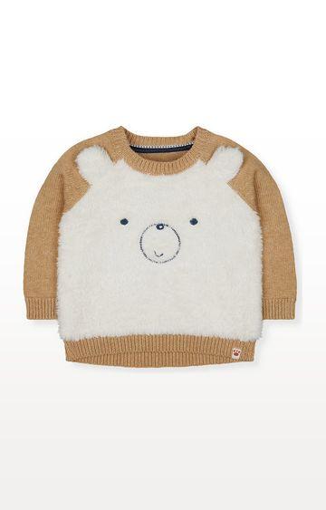 Mothercare | Cream Fluffy Bear Knitted Jumper