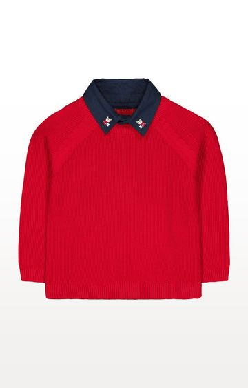 Mothercare | Heritage Red Mock-Shirt Knitted Jumper