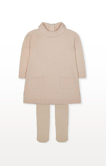 Mothercare | Chenille Roll-Neck Dress And Gold Tights Set