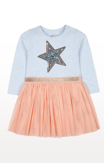 Mothercare | Blue Sequin Star Fairy Twofer Dress