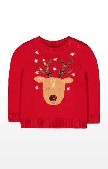Mothercare | Red Knitted Reindeer Jumper
