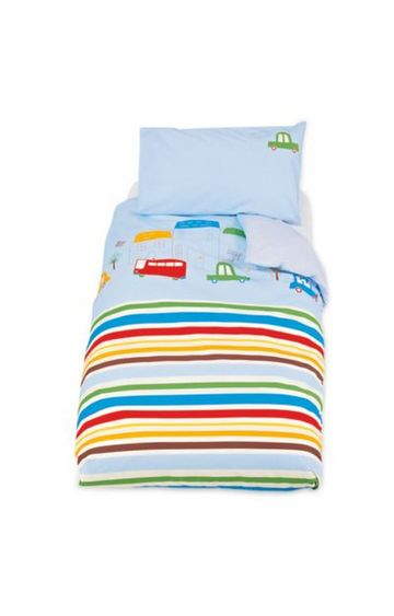 Mothercare | Multicoloured Striped Quilt and Pillow Cover Set