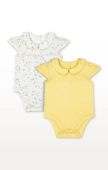 Mothercare | White Floral and Yellow Spot Frill Collared Bodysuits - 2 Pack