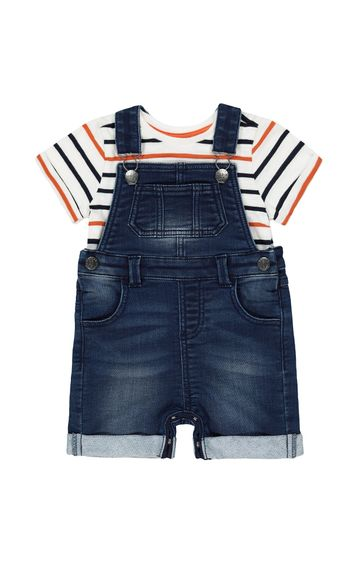 Mothercare | Blue Striped Dungaree
