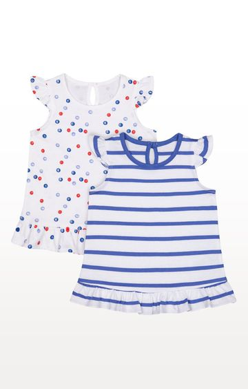 Mothercare | Girls Half Sleeves T-shirt Striped And Printed - Pack of 2 - Multicolor