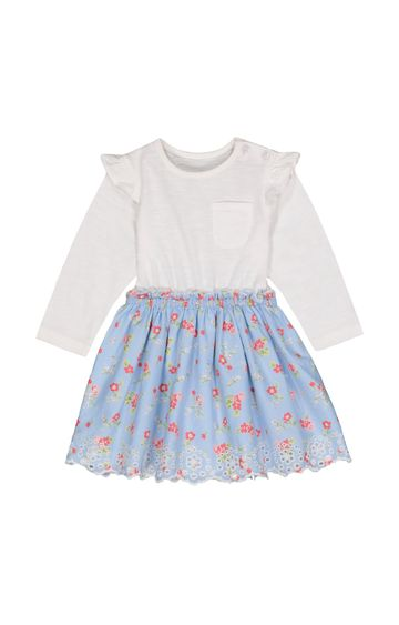 Mothercare   White and Blue Printed Frock
