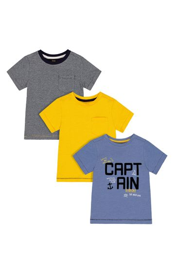 Mothercare | Multicoloured Printed T-Shirt - Pack of 3
