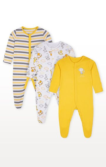Mothercare | Monkey Sleepsuits - Pack of 3