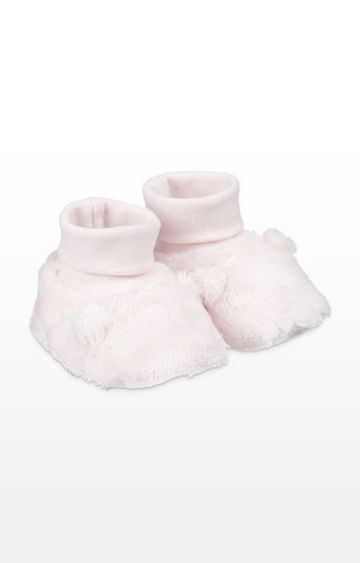 Mothercare | Fluffy Pink Baby Socktop Booties With Ears