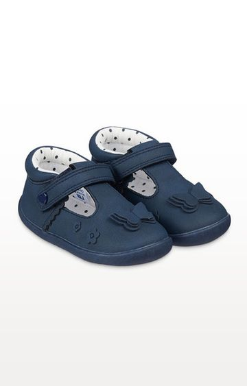 Mothercare | Navy Butterfly Crawler Shoes