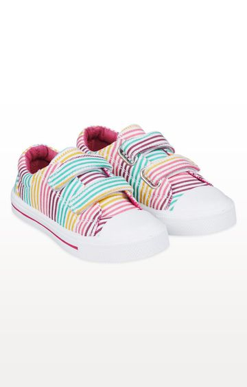 Mothercare | Pastel Striped Canvas Trainers