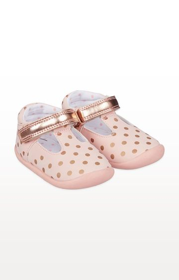 Mothercare | Pink and Rose-Gold Spot T-Bar Crawler Shoes