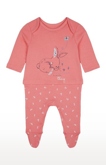 Mothercare | Girls Full Sleeve Romper - Printed Pink