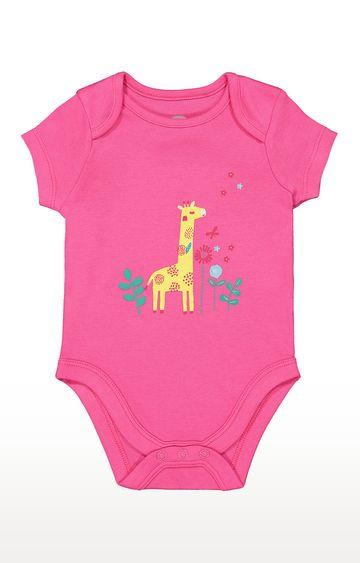 Mothercare   Girls Half Sleeve Bodysuit - Printed Pink
