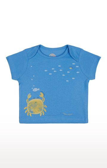 Mothercare   Boys Half Sleeve Round Neck Tee - Printed Blue