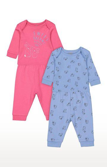 Mothercare | Girls Full Sleeve Pyjama Set - Pink and Blue