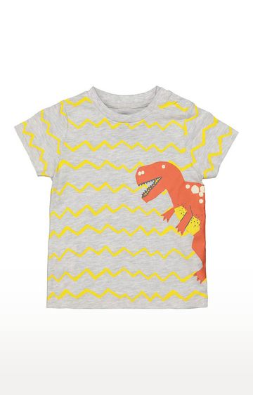Mothercare | Boys Half Sleeve Round Neck Tee - Printed Grey