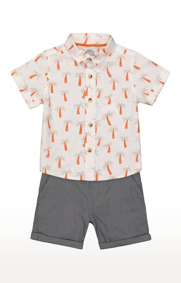 Mothercare | Boys Printed Shirt and Dark Grey Shorts