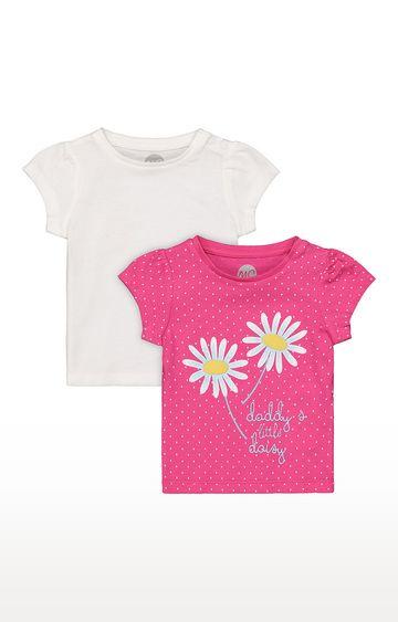 Mothercare | Girls Half Sleeve Round Neck Tee - Pink
