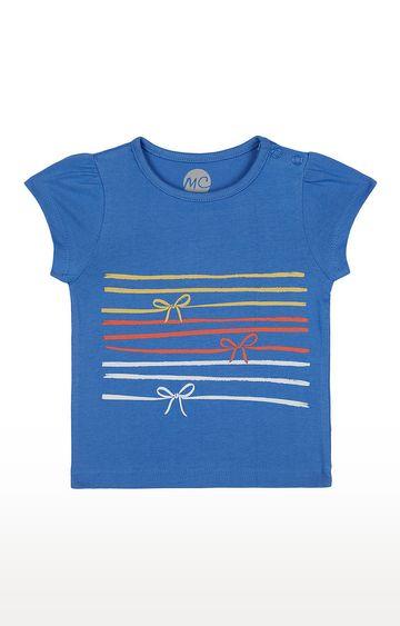 Mothercare   Girls Half Sleeve Round Neck Tee - Printed Blue