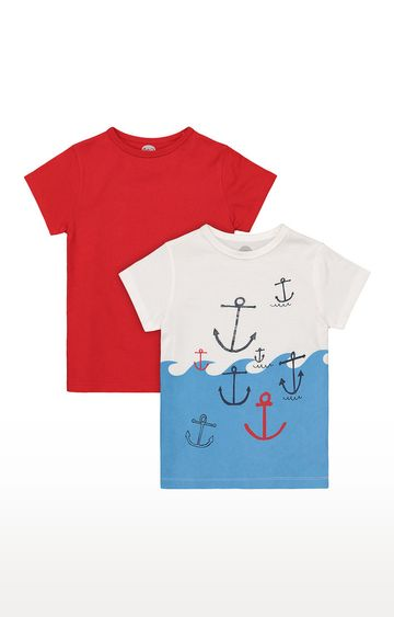 Mothercare | Boys Half Sleeve Round Neck Tee - Red and White