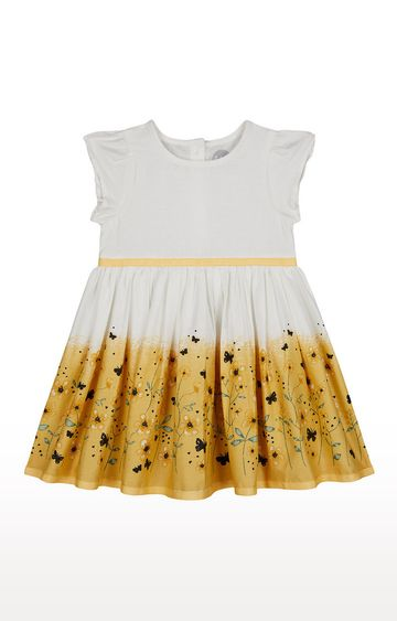 Mothercare   Girls Half Sleeve Casual Dress - Printed White