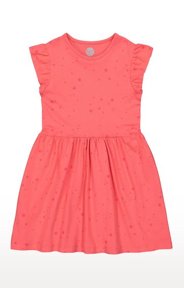 Mothercare | Girls Half Sleeve Casual Dress - Printed Pink
