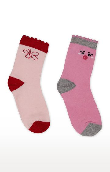 Mothercare | Pink Printed Socks - Pack of 2