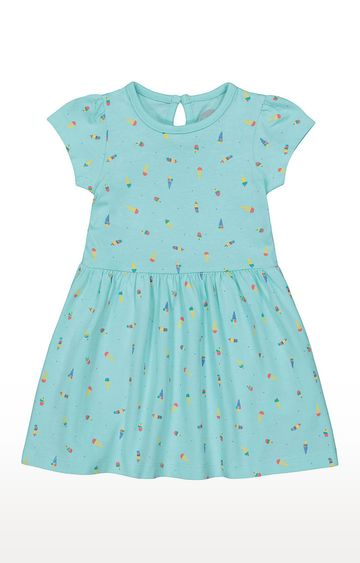 Mothercare   Girls Half Sleeve Casual Dress - Blue