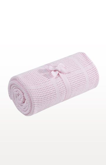 Mothercare | Pink Cot Or Cot Bed Cellular Cotton Blanket