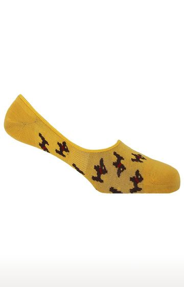Soxytoes | Who Let The Dog Out Yellow No Show Cotton Shoe Liners Animal Print Casual Socks
